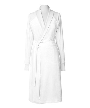 White Organic Velour Bathrobe
