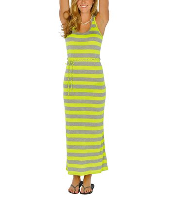 Neon Yellow Stripe Maxi Dress