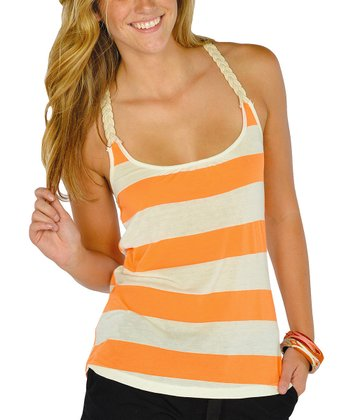 Neon Orange Stripe Racerback Tank