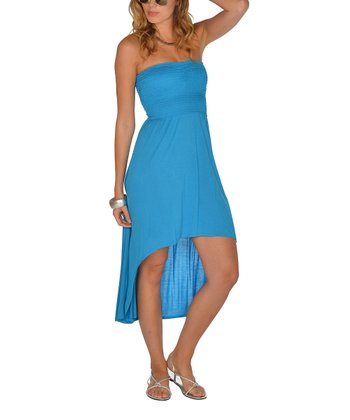 Blue Shirred Strapless Hi-Low Dress