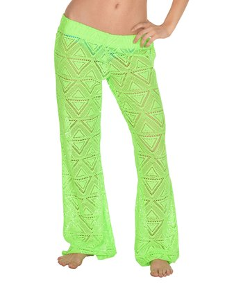 Lagaci Neon Green Ruched Cover-Up Pants - Women