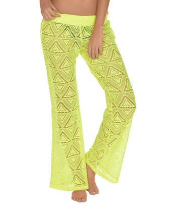 Lagaci Neon Yellow Ruched Cover-Up Pants - Women