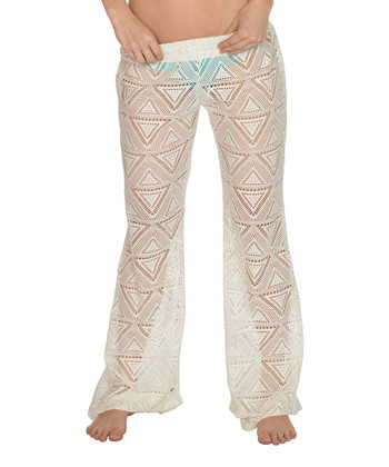 Lagaci White Ruched Cover-Up Pants - Women