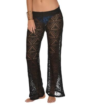 Lagaci Black Ruched Cover-Up Pants - Women