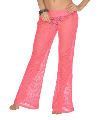 Lagaci Neon Pink Ruched Cover-Up Pants - Women