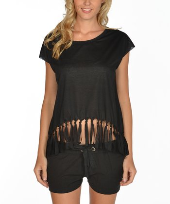 Lagaci Black Fringe Cap-Sleeve Top - Women