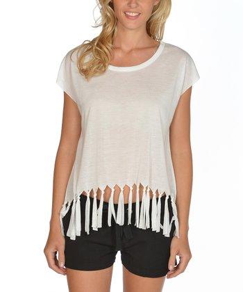 Lagaci White Fringe Cap-Sleeve Top - Women