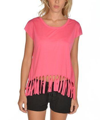 Lagaci Hot Pink Fringe Cap-Sleeve Top - Women