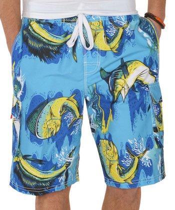 Lagaci Blue & Yellow Abstract Boardshorts - Men