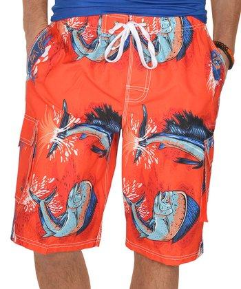 Lagaci Orange & Blue Abstract Boardshorts - Men