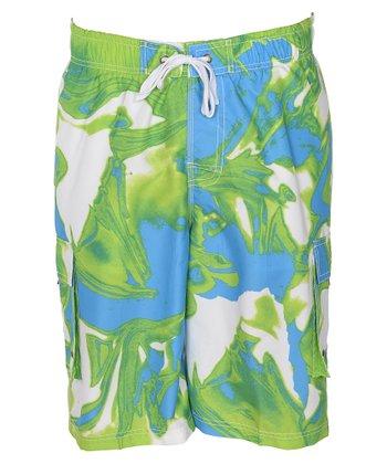 Lagaci Blue & Green Abstract Swim Shorts - Men