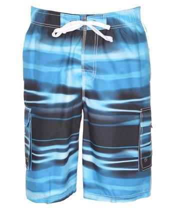 Lagaci Blue & Gray Abstract Boardshorts - Men