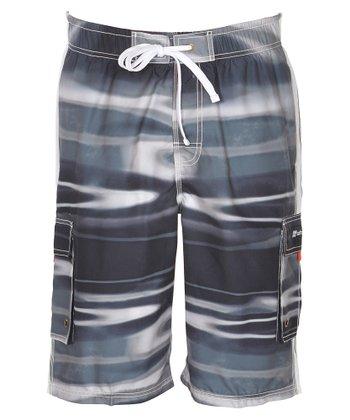 Lagaci Black & Gray Abstract Boardshorts - Men