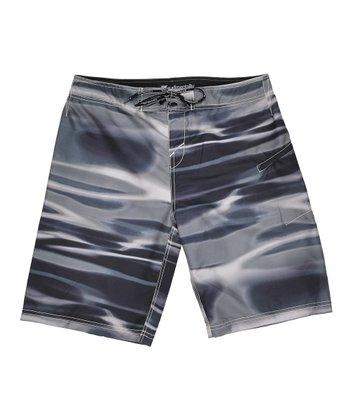 Lagaci Black & Gray Abstract Crop Swim Shorts - Men