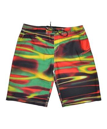 Lagaci Black & Red Abstract Crop Swim Shorts - Men