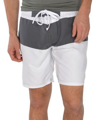 Lagaci White & Gray Color Block Swim Shorts - Men