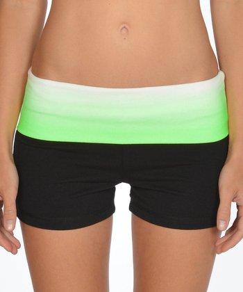 Lagaci Neon Green & Black Shorts