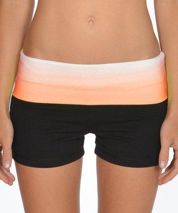 Lagaci Neon Orange & Black Shorts