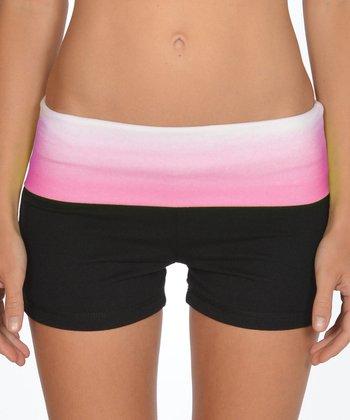 Lagaci Neon Pink & Black Shorts