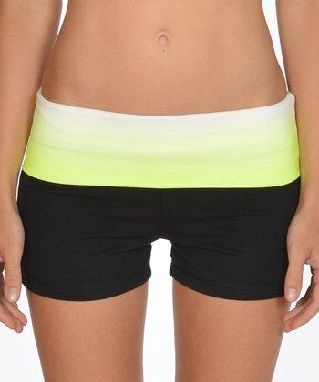 Lagaci Neon Yellow & Black Shorts