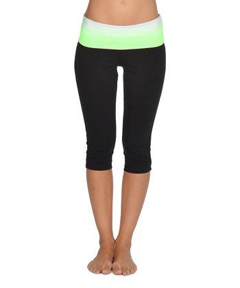 Lagaci Neon Green & Black Capri Pants