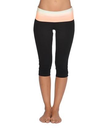 Lagaci Neon Orange & Black Capri Pants