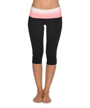 Lagaci Neon Pink & Black Capri Pants