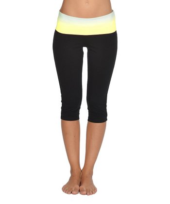 Lagaci Neon Yellow & Black Capri Pants