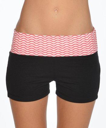 Lagaci Hot Pink & Black Shorts