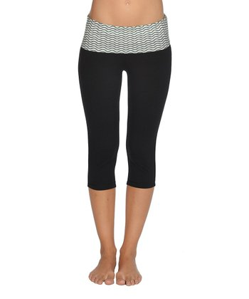 Lagaci Charcoal & Black Capri Pants