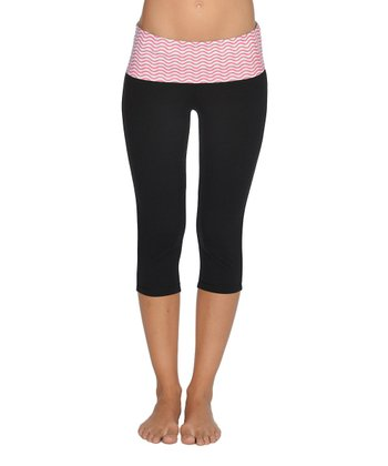 Lagaci Hot Pink & Black Capri Pants