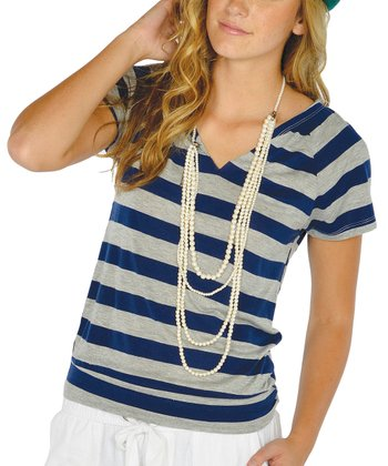 Navy Stripe Cutout Top