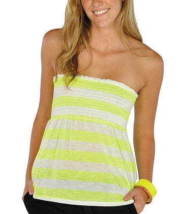 Neon Yellow Stripe Shirred Strapless Top