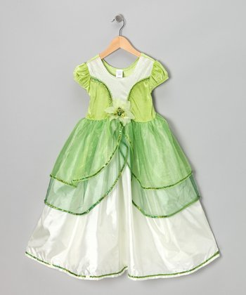 Green & White Lily Pad Princess Dress - Infant, Toddler & Girls