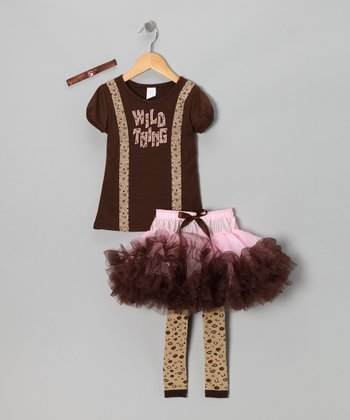 Brown & Pink 'Wild Thing' Dress-Up Set - Toddler & Girls