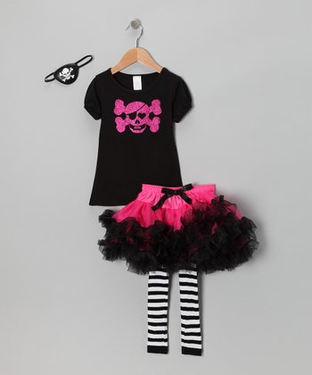 Fuchsia & Black Pirate Princess Dress-Up Set - Girls