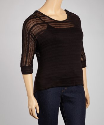 Black Stripe Lace Trim Semi-Sheer Top - Plus