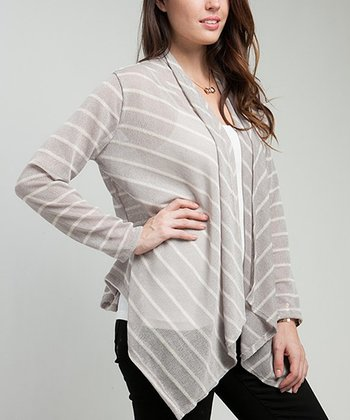Gray Stripe Open Cardigan - Plus