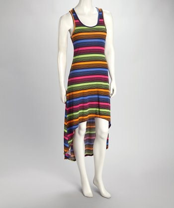 Black Stripe Hi-Low Tank Dress