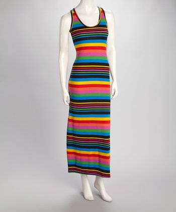 Blue Carnival Stripe Maxi Dress