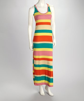 Turquoise & Lava Stripe Maxi Dress