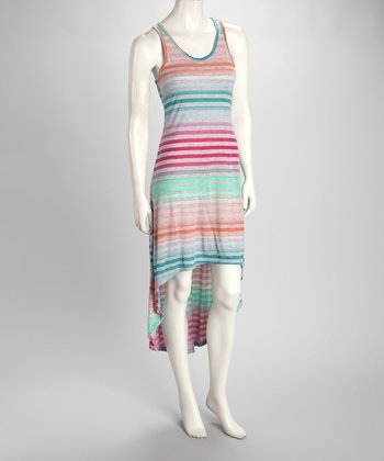 Fuchsia Stripe Hi-Low Tank Dress