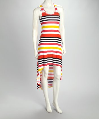 Nectarine & Black Stripe Hi-Low Tank Dress