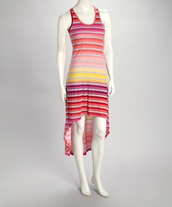 Orange & Fuchsia Stripe Hi-Low Tank Dress