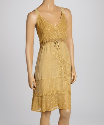 Fawn Lace Trim Embroidered Surplice Dress - Women