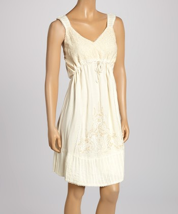 Natural Flourish Embroidered Surplice Dress - Women