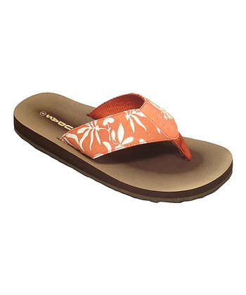 Orange & White Floral Moxie Flip-Flop