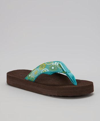 Blue & Green Circles Flip-Flop