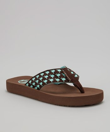 Turquoise & Brown Palmetto Flip-Flop