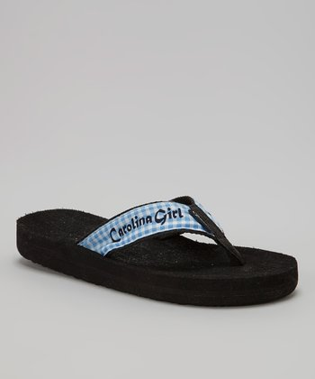 Blue Gingham 'Carolina Girl' Flip-Flop